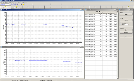 Screenshot of thickness and refractive index results measured on one wafer in a line